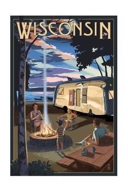 Wisconsin - Retro Camper and Lake by Lantern Press