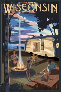 Wisconsin - Retro Camper and Lake by Lantern Press