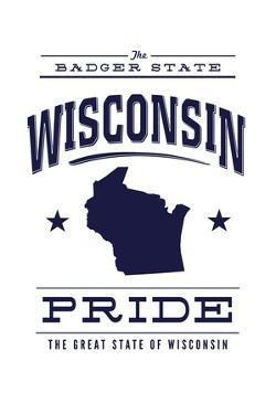 Wisconsin State Pride - Blue on White by Lantern Press