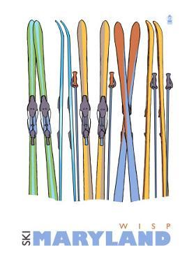 Wisp, Maryland, Skis in the Snow by Lantern Press