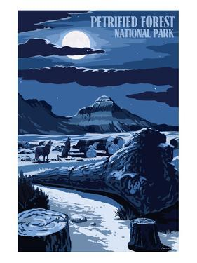 Wolves and Full Moon - Petrified Forest National Park by Lantern Press