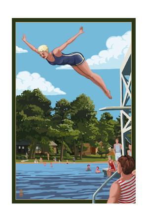 Woman Diving and Lake by Lantern Press