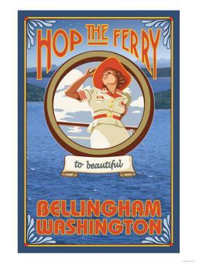 Woman Riding Ferry, Bellingham, Washington by Lantern Press