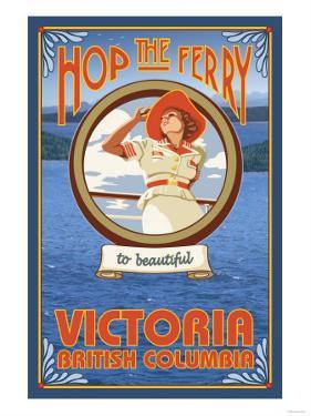 Woman Riding Ferry, Victoria, BC Canada by Lantern Press