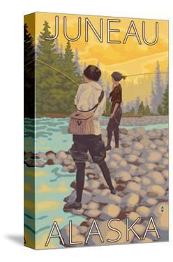 Women Fly Fishing, Juneau, Alaska by Lantern Press