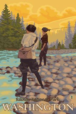 Women Fly Fishing, Mt. Rainier National Park, Washington by Lantern Press