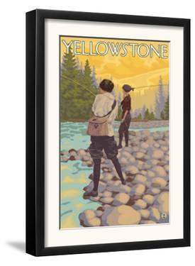 Women Fly Fishing, Yellowstone National Park by Lantern Press