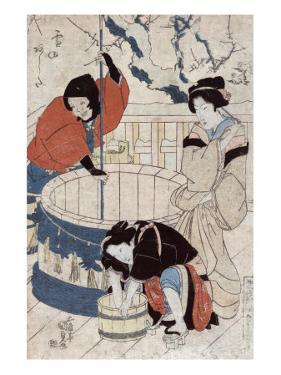 Women Getting Water at the Well, Japanese Wood-Cut Print by Lantern Press