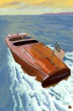 Wooden Boat on Lake by Lantern Press