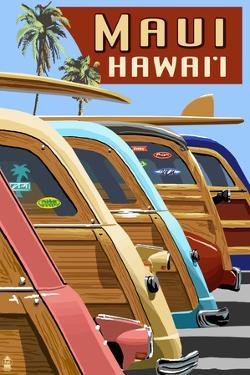 Woodies Lined Up - Maui, Hawaii by Lantern Press