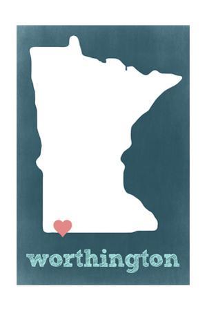Worthington, Minnesota - Chalkboard and Heart by Lantern Press
