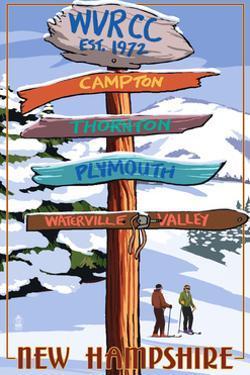 WVRCC, New Hampshire - Snow Destination Signpost by Lantern Press