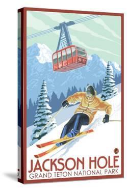 Wyoming Skier and Tram, Jackson Hole by Lantern Press