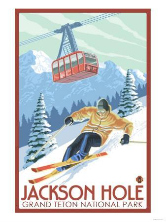 Wyoming Skier and Tram, Jackson Hole by Lantern Press