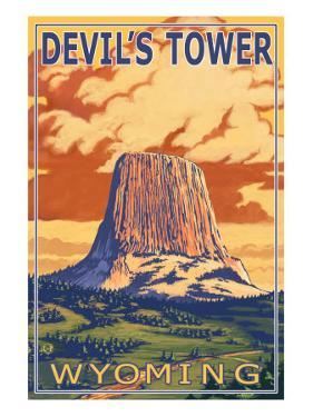 Wyoming, View of Devil's Tower by Lantern Press
