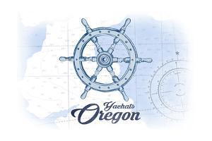 Yachats, Oregon - Ship Wheel - Blue - Coastal Icon by Lantern Press