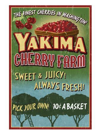 Yakima, Washington - Cherries by Lantern Press