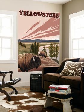 Yellowstone - Bison Scene by Lantern Press