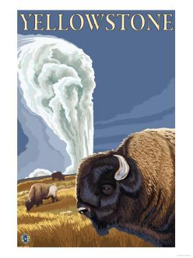 Yellowstone - Bison with Old Faithful by Lantern Press