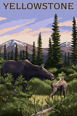 Yellowstone - Moose and Baby by Lantern Press