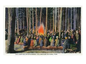 Yellowstone Nat'l Park, Wyoming - Campfire Entertainment Scene by Lantern Press