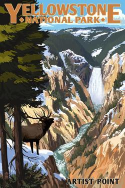 Yellowstone National Park - Artist Point and Elk by Lantern Press