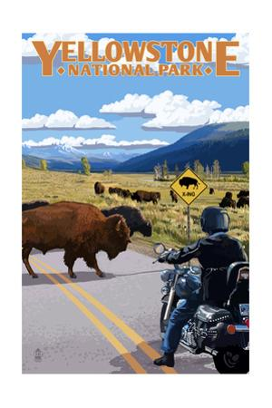 Yellowstone National Park - Motorcycle and Bison by Lantern Press