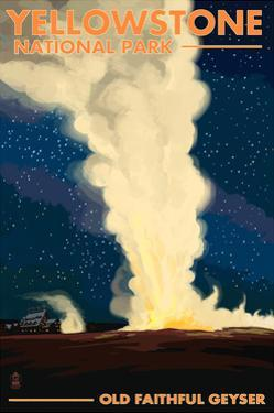 Yellowstone National Park - Old Faithful at Night by Lantern Press