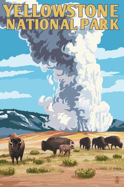 Yellowstone National Park - Old Faithful Geyser and Bison Herd by Lantern Press