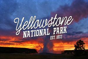 Yellowstone National Park - Old Faithful Sunset by Lantern Press