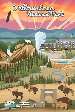 Yellowstone National Park - Retro View by Lantern Press