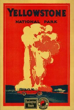 Yellowstone, Old Faithful Advertising Poster - Yellowstone National Park by Lantern Press