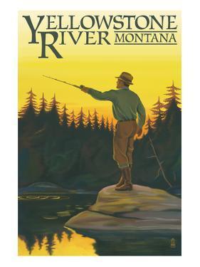 Yellowstone River, Montana - Fly Fishing Scene by Lantern Press