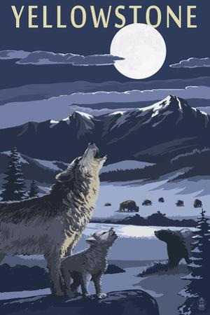 Yellowstone - Wolves and Full Moon by Lantern Press