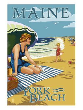 York Beach, Maine - Beach Scene by Lantern Press