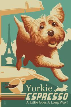 Yorkshire Terrier - Retro Yorkie Espresso Ad by Lantern Press