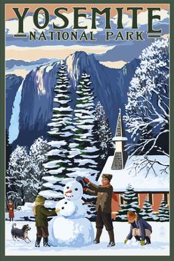 Yosemite Chapel and Snowman - Yosemite National Park, California by Lantern Press