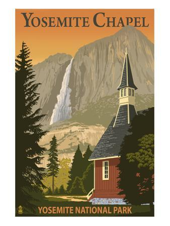 Yosemite Chapel and Yosemite Falls - California by Lantern Press