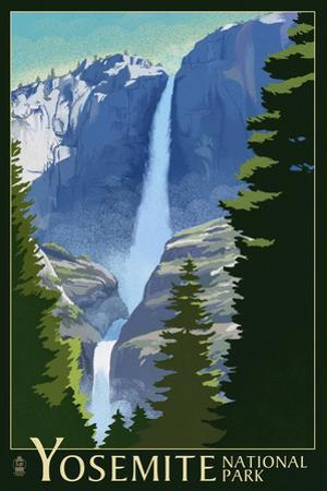 Yosemite Falls - Yosemite National Park, California Lithography by Lantern Press