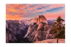 Yosemite National Park, California - Half Dome and Sunset by Lantern Press
