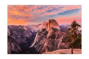 Yosemite National Park, California - Half Dome and Sunset by Lantern Press