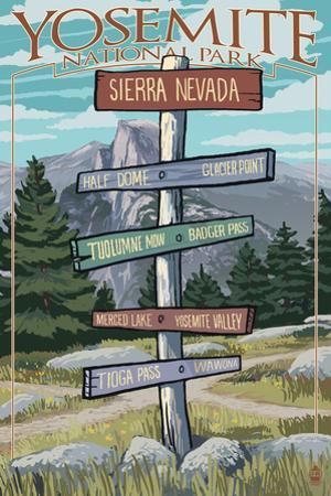 Yosemite National Park, California - Signpost by Lantern Press