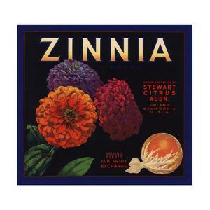 Zinnia Brand - Upland, California - Citrus Crate Label by Lantern Press