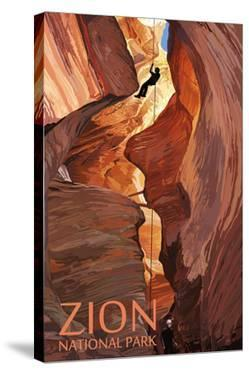 Zion National Park - Canyoneering Scene by Lantern Press