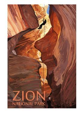 Zion National Park - Canyoneering Scene by Lantern Press