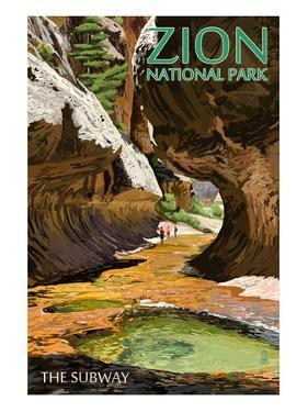Zion National Park - The Subway by Lantern Press