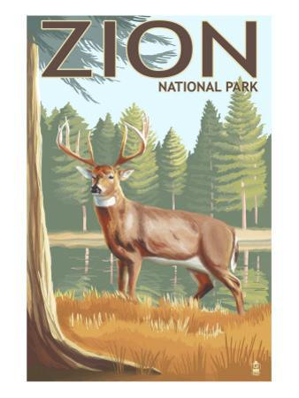 Zion National Park, UT - Deer by Lantern Press