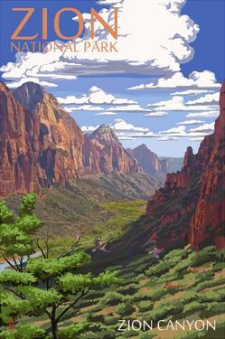 Zion National Park - Zion Canyon View by Lantern Press