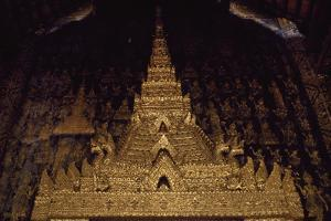 Laos, Luang Phrabang, Detail of Portal of Wat May Temple