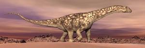 Large Argentinosaurus Dinosaur Walking in the Desert